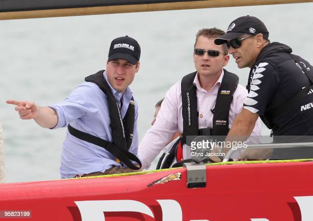 Prince William crews a 79 foot exAmerica's Cup Yacht in Auckland Harbour on the first day of his visit to New Zealand on January 17 2010 in Auckland...