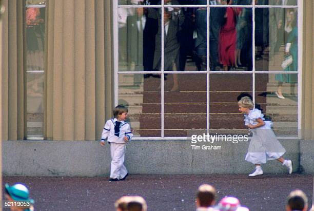 Prince William Dressed As A Pageboy Playing With Lady Davina Windsor In The Grounds Of Buckingham Palace Following The Wedding Of Sarah Ferguson And...