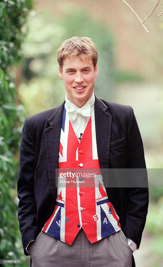 <a gi-track='captionPersonalityLinkClicked' href=/galleries/search?phrase=Prince+William&family=editorial&specificpeople=178205 ng-click='$event.stopPropagation()'>Prince William</a> dressed as a prefect, with a union jack waistcoat at Eton in June 2000.
