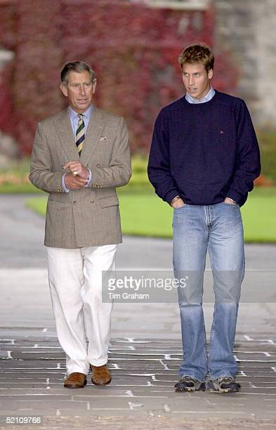 Prince William Dressed Casually In Jeans Blue Jumper And Trainers Arriving At St Andrews University In Scotland He And His Father Prince Charles Are...