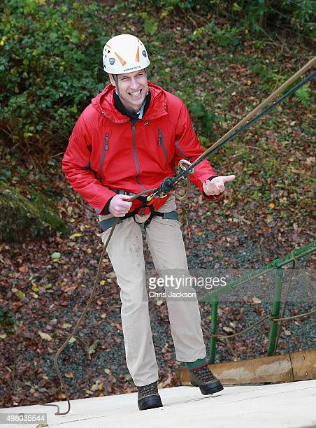 Prince William Duke of Cambridge abseils as he visits the Towers Residential Outdoor Education Centre on November 20 2015 in Capel Curig United...