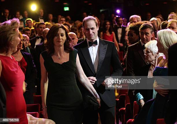 Prince William Duke of Cambridge accompanied by Amanda Berry OBE Chief Executive of Bafta arrive at the EE British Academy Film Awards 2014 at The...