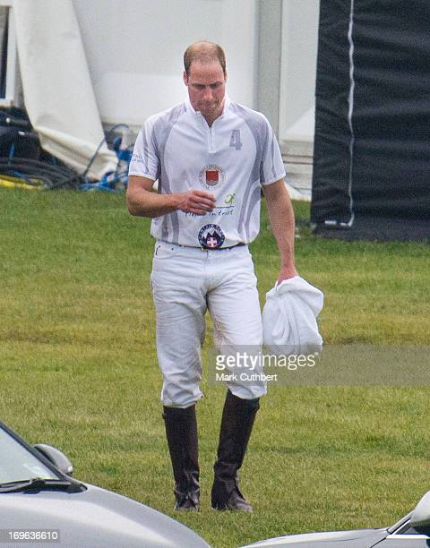 Prince William Duke of Cambridge after playing in the Audi Polo Challenge at Chester Racecourse on May 29 2013 in Chester EnglandÊ