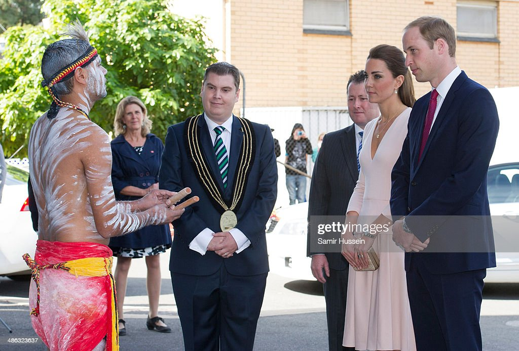 <a gi-track='captionPersonalityLinkClicked' href=/galleries/search?phrase=Prince+William&family=editorial&specificpeople=178205 ng-click='$event.stopPropagation()'>Prince William</a>, Duke of Cambridge and Camilla, Duchess of Cambridge speak to performers at the community centre, The Northern Sound System in Elizabeth on April 23, 2014 in Adelaide, Australia. The Duke and Duchess of Cambridge are on a three-week tour of Australia and New Zealand, the first official trip overseas with their son, Prince George of Cambridge.