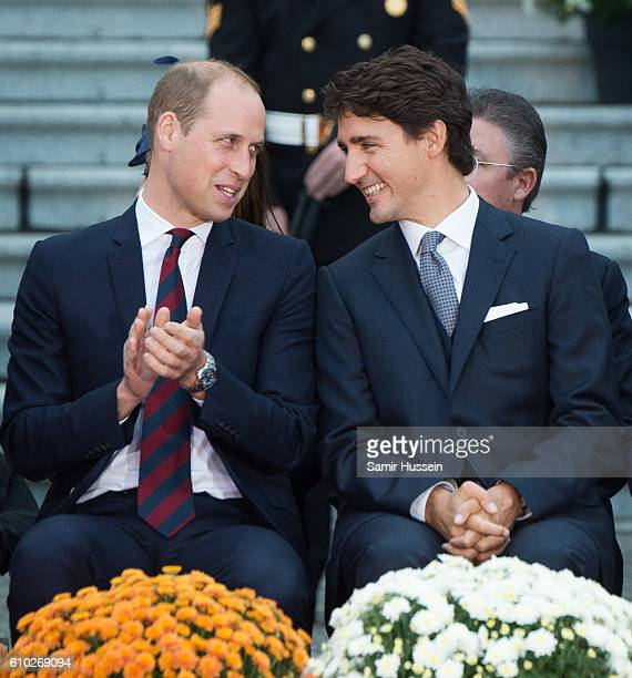 Prince William Duke of Cambridge and Canadian Prime Minister Justin Trudeau attend the Official Welcome Ceremony for the Royal Tour at the British...