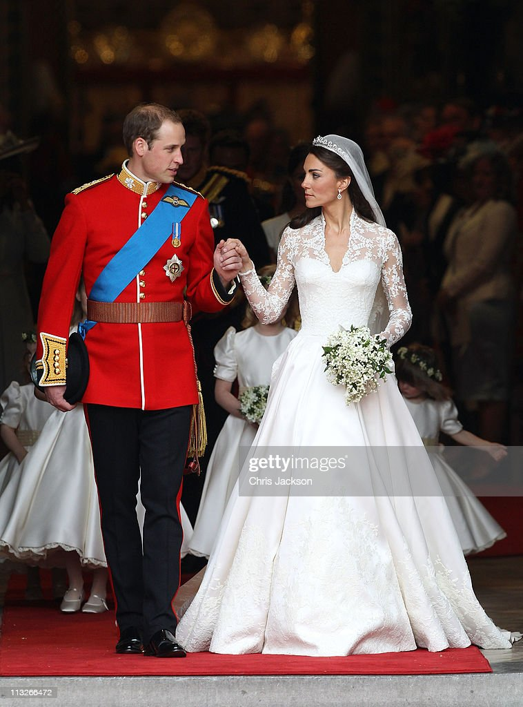 Prince William Duke of Cambridge and Catherine Duchess of Cambridge smile following their marriage at Westminster Abbey on April 29 2011 in London...