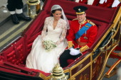 Prince William Duke of Cambridge and Catherine Duchess of Cambridge leave Westminster Abbey after the Royal Wedding of Prince William to Catherine...