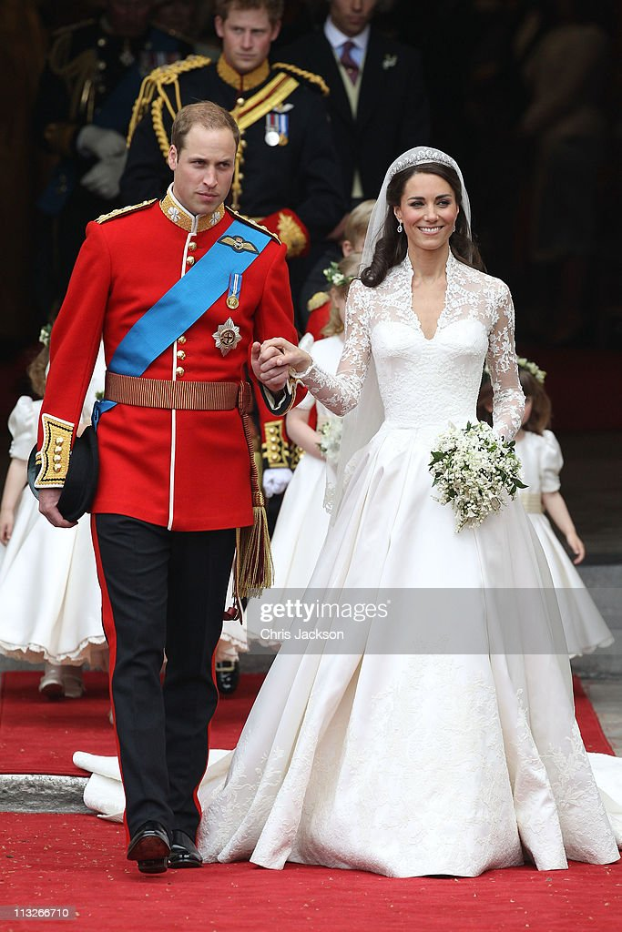 Prince William, Duke of Cambridge and Catherine, Duchess of Cambridge smile following their marriage at Westminster Abbey on April 29, 2011 in London, England. The marriage of the second in line to the British throne was led by the Archbishop of Canterbury and was attended by 1900 guests, including foreign Royal family members and heads of state. Thousands of well-wishers from around the world have also flocked to London to witness the spectacle and pageantry of the Royal Wedding.
