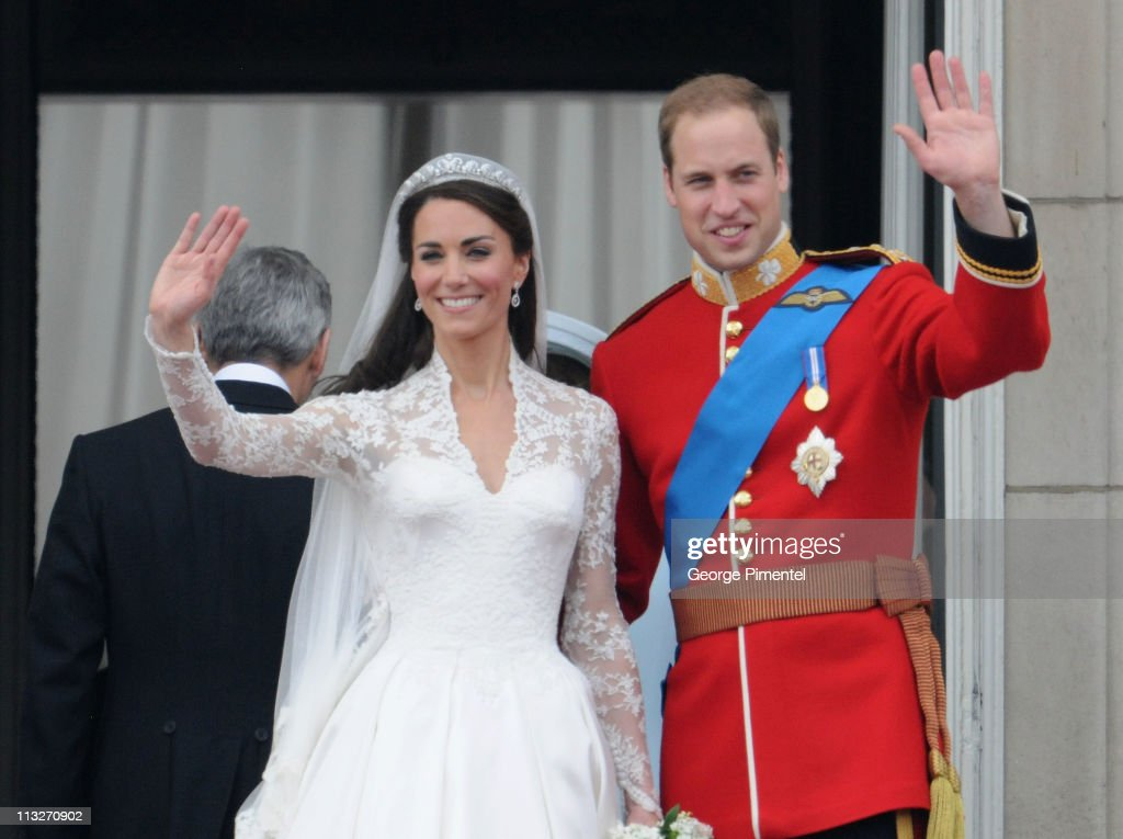 Prince William Duke of Cambridge and Catherine Duchess of Cambridge greet wellwishers from the balcony at Buckingham Palace on April 29 2011 in...