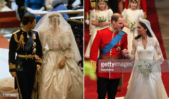 PHOTO In this photo composite image a comparison has been made between the weddings of Prince Charles Prince of Wales to Lady Diana Spencer and...