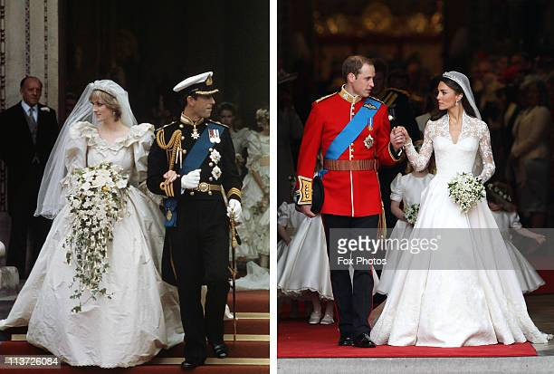 In this composite image a comparison has been made between the Royal Wedding cathedral departure images of Prince Charles Prince of Wales and Lady...