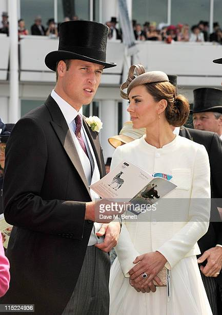 Prince William Duke of Cambridge and Catherine Duchess of Cambridge attend Investec Derby Day at the Investec Derby Festival at Epsom Downs...