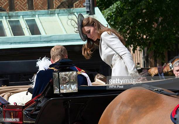 Prince William Duke of Cambridge and Catherine Duchess of Cambridge attend the annual Order of the Garter Service at St George's Chapel Windsor...