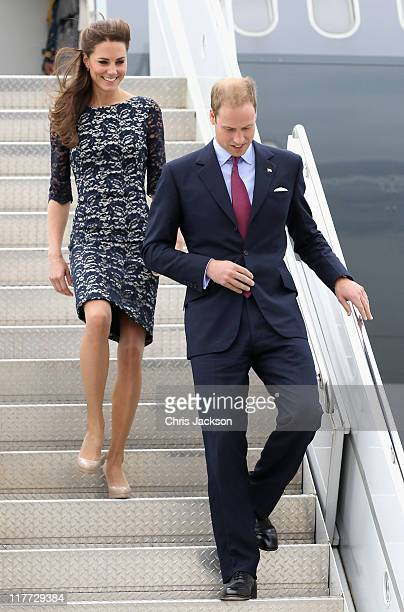 Prince William Duke of Cambridge and Catherine Duchess of Cambridge arrive at MacdonaldCartier International Airport on June 30 2011 in Ottawa Canada...