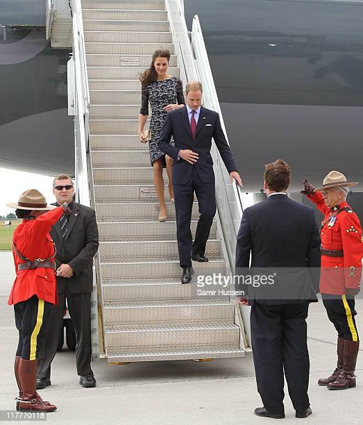 Prince William Duke of Cambridge and Catherine Duchess of Cambridge arrive at the MacdonaldCartier International Airport on day 1 on the Royal...