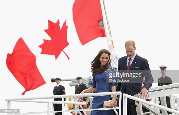 Prince William Duke of Cambridge and Catherine Duchess of Cambridge disembark HMCS Montreal on July 3 2011 in Quebec Canada The newly married Royal...