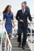 Prince William Duke of Cambridge and Catherine Duchess of Cambridge disembark HMCS Montreal in Champlain Harbour on July 3 2011 in Quebec Canada The...