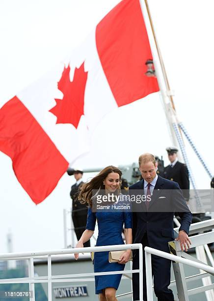 Prince William Duke of Cambridge and Catherine Duchess of Cambridge disembark HMCS Montreal on day 4 of the Royal Couple's North American Tour July 3...