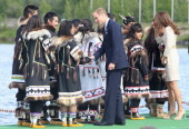 Prince William Duke of Cambridge and Catherine Duchess of Cambridge meets dancers during an official welcome ceremony at the Somba K'e Civic Plaza on...