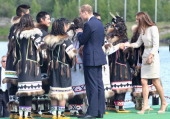 Prince William Duke of Cambridge and Catherine Duchess of Cambridge meets dancers during an an official welcome ceremony at the Somba K'e Civic Plaza...