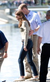 Prince William Duke of Cambridge and Catherine Duchess of Cambridge board a float plane at the Old Town Float Base on day 6 of the Royal Couple's...