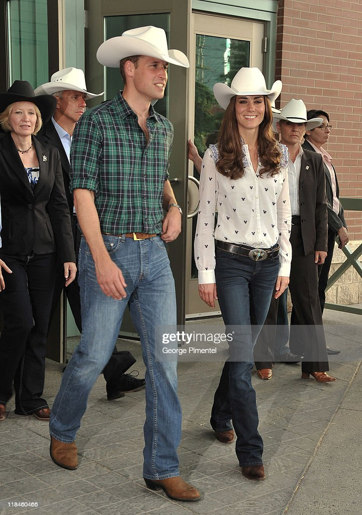 Prince William Duke of Cambridge and Catherine Duchess of Cambridge watch traditional Calgary Stampede activities at the BMO Centre on July 7 2011 in...
