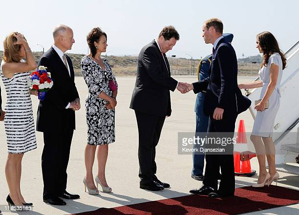 Prince William Duke of Cambridge and Catherine Duchess of Cambridge are greeted by British Ambassador Sir Nigel Sheinwald and his wife Lady Julia...