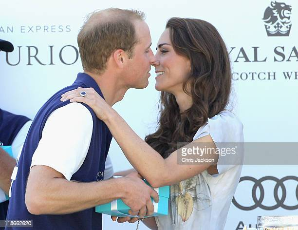 Prince William Duke of Cambridge and Catherine Duchess of Cambridge celebrate after Williams' team won the Foundation Polo Challenge at the Santa...