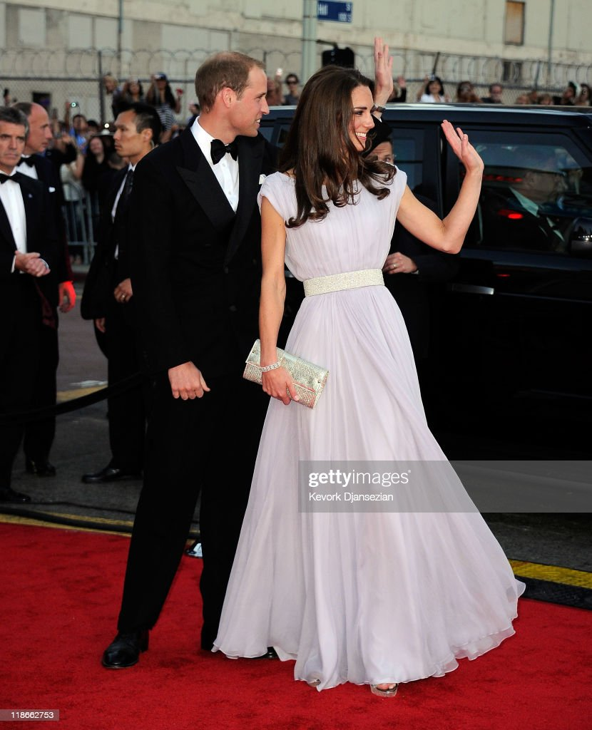 Prince William Duke of Cambridge and Catherine Duchess of Cambridge arrive at the BAFTA Brits To Watch event held at the Belasco Theatre on July 9...
