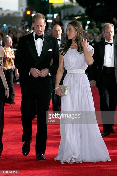 Prince William Duke of Cambridge and Catherine Duchess of Cambridge arrive at the BAFTA 'Brits to Watch' event held at the Belasco Theatre on July 9...