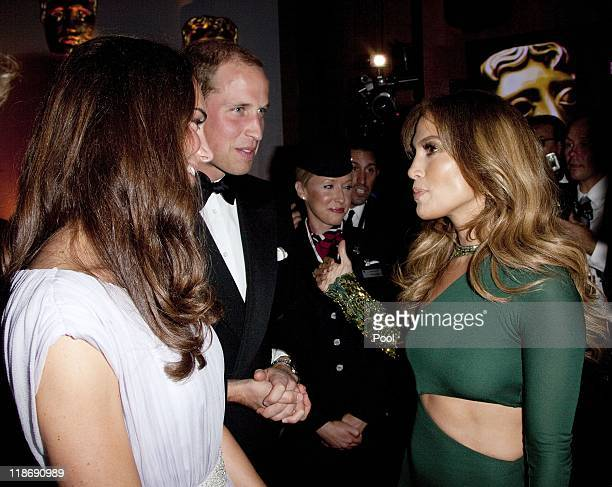 Prince William Duke of Cambridge and Catherine Duchess of Cambridge speaks to Jennifer Lopez at the 2011 BAFTA Brits To Watch Event at the Belasco...