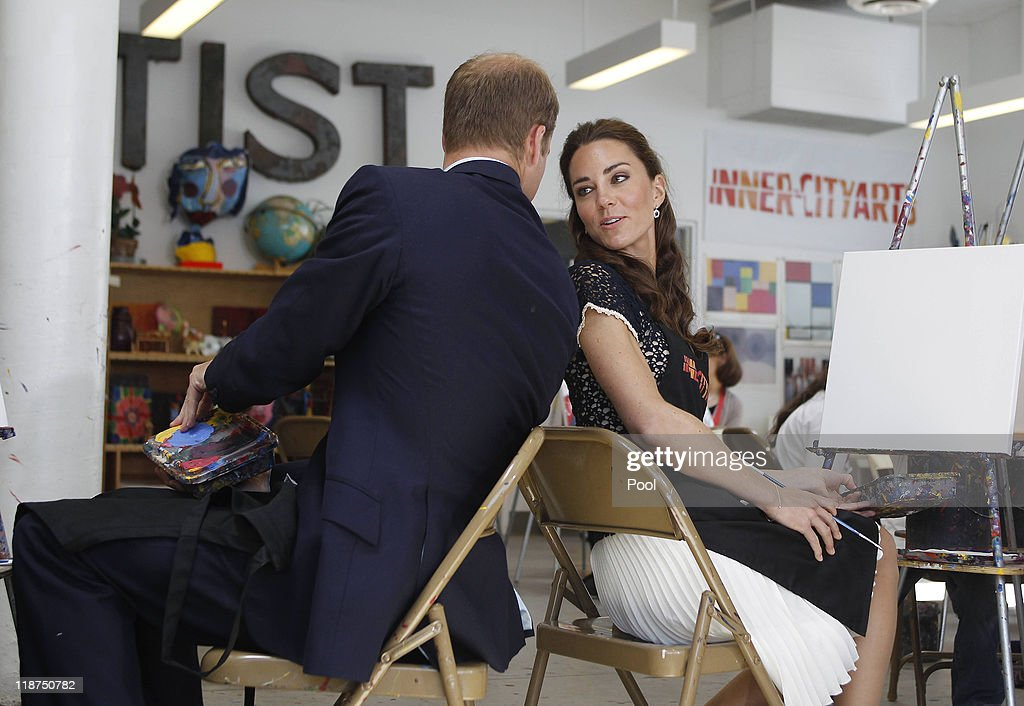 Prince William, Duke of Cambridge and Catherine, Duchess of Cambridge talk during a tour of the Inner City Arts campus on July 10, 2011 in the Skid Row section of Los Angeles, California. Prince William and his wife Catherine are on a royal visit to California from July 8 to July 10.