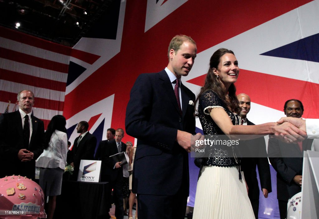 <a gi-track='captionPersonalityLinkClicked' href=/galleries/search?phrase=Prince+William&family=editorial&specificpeople=178205 ng-click='$event.stopPropagation()'>Prince William</a>, Duke of Cambridge and <a gi-track='captionPersonalityLinkClicked' href=/galleries/search?phrase=Catherine+-+Duchess+of+Cambridge&family=editorial&specificpeople=542588 ng-click='$event.stopPropagation()'>Catherine</a>, Duchess of Cambridge attend the Mission Serve: Hiring Our Heroes event on July 10, 2011 in Culver City, California. The newly married Royal Couple are on the final day of their first joint overseas tour to the USA. They arrived on Friday after spending 9 days in Canada. The couple started off their tour of North America by joining millions of Canadians in taking part in Canada Day celebrations which mark Canada's 144th Birthday.