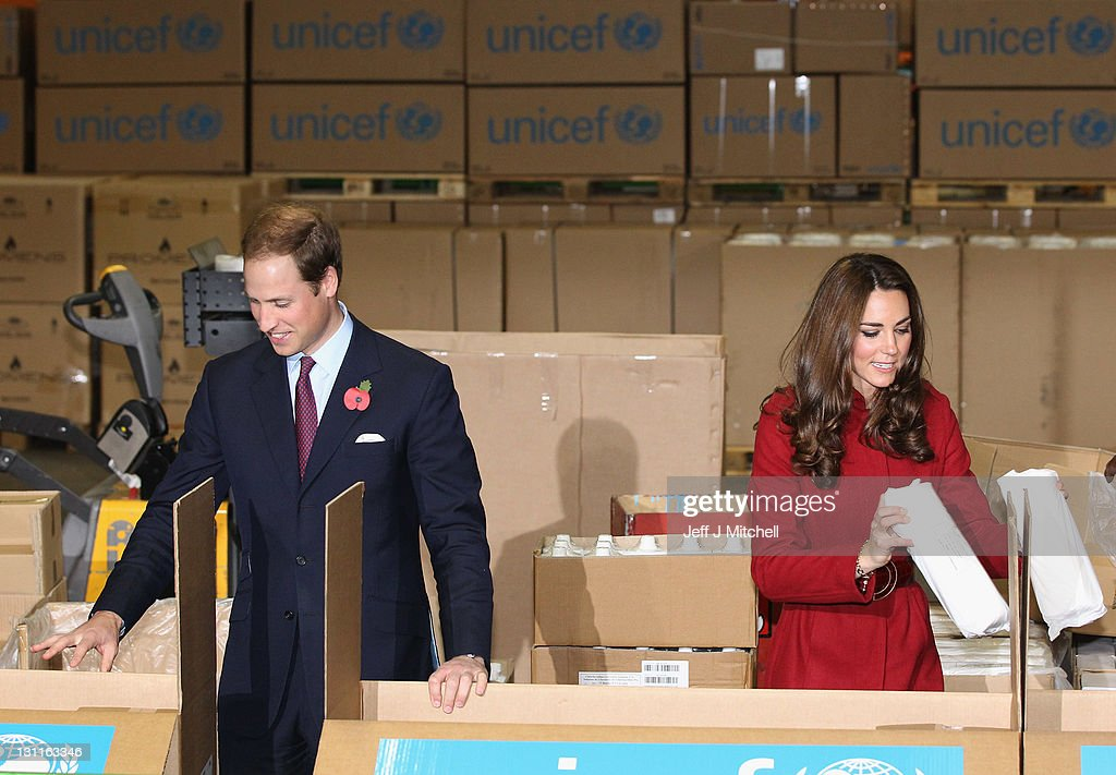 Prince William, Duke of Cambridge and Catherine, Duchess of Cambridge visit the UNICEF Global Supply Centre on November 2, 2011 in Copenhagen, Denmark. The visit is to help maintain the spotlight on the ongoing humanitarian crisis in East Africa, which has left hundreds of thousands of children severely malnourished and at risk of starving to death unless they receive urgent help. The huge supply centre sources supplies packs and distributes the food, water, vaccines and emergency medical kits for children around the globe.