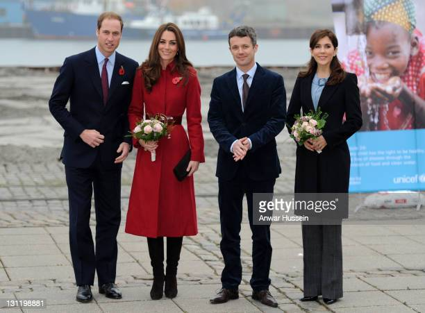 Prince William Duke of Cambridge and Catherine Duchess of Cambridge accompanied by Crown Prince Frederik and Crown Princess Mary of Denmark visit the...