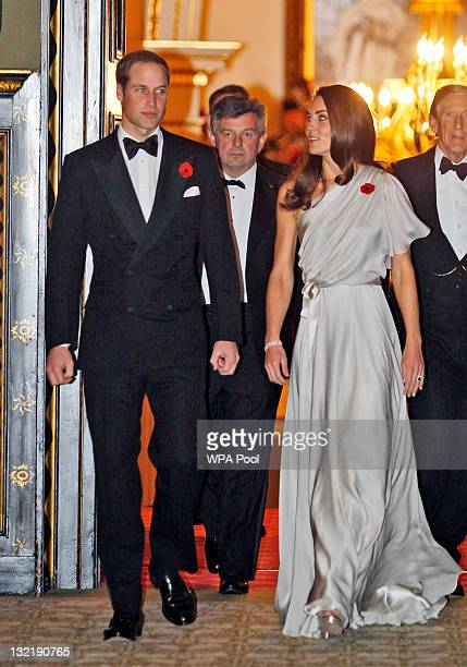 Prince William Duke of Cambridge and Catherine Duchess of Cambridge arrive to a reception in aid of the National Memorial Arboretum Appeal at St...
