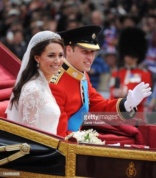 Prince William Duke of Cambridge and Catherine Duchess of Cambridge depart Westminster Abbey after there marriage on April 29 2011 in London England...
