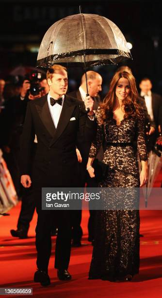 Prince William Duke of Cambridge and Catherine Duchess of Cambridge attend the UK premiere of War Horse at the Odeon Leicester Square on January 8...