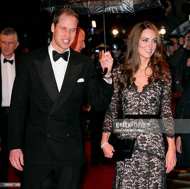 Prince William Duke of Cambridge and Catherine Duchess of Cambridge attend the UK premiere of War Horse at Odeon Leicester Square on January 8 2012...