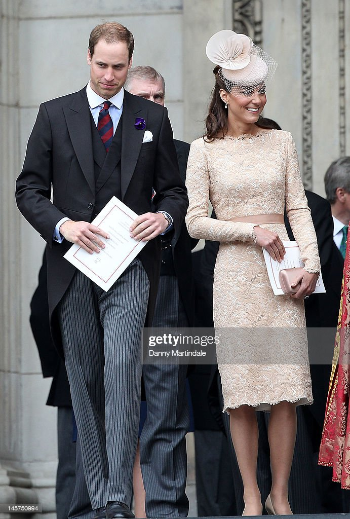 Prince William Duke of Cambridge and Catherine Duchess of Cambridge depart the Service of Thanksgiving at St Paul's Cathedral as part of the Diamond...