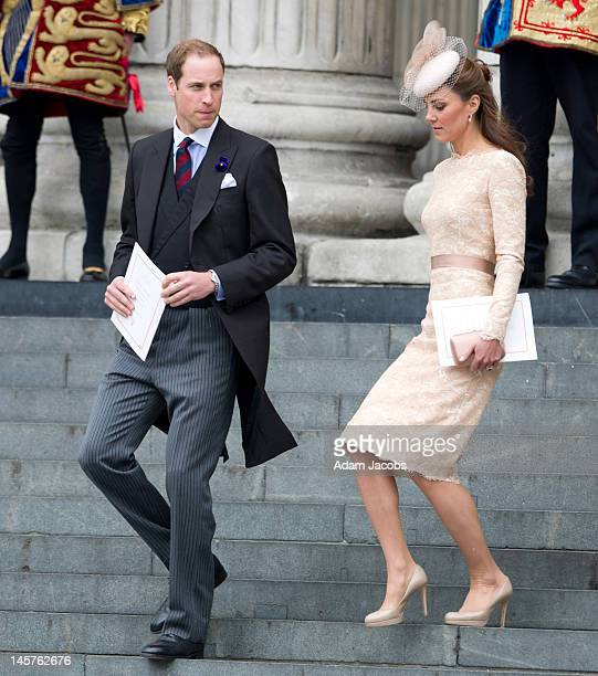 Prince William Duke of Cambridge and Catherine Duchess of Cambridge attend a service of thanksgiving on June 5 2012 in London England For only the...