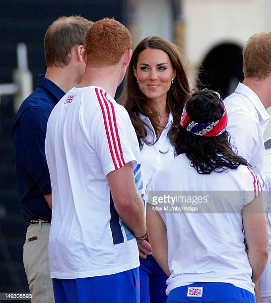 Prince William Duke of Cambridge and Catherine Duchess of Cambridge talk with athletes from the Team GB Ambition Programme as they await the arrival...
