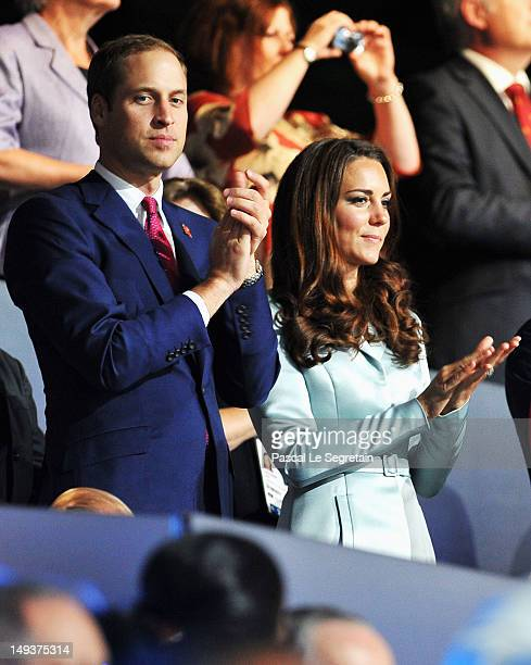 Prince William Duke of Cambridge and Catherine Duchess of Cambridge during the Opening Ceremony of the London 2012 Olympic Games at the Olympic...
