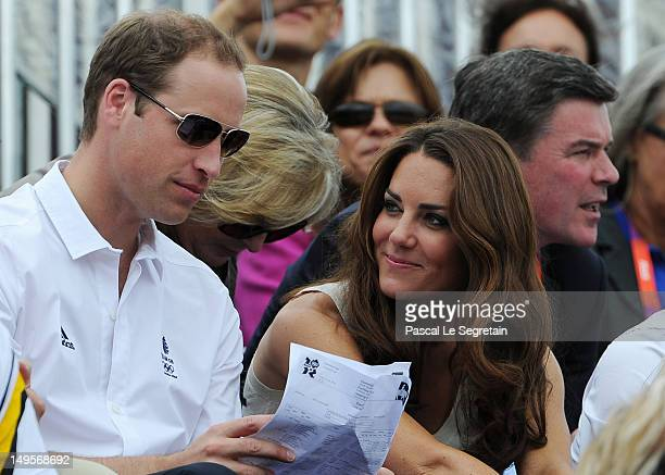 Prince William Duke of Cambridge and Catherine Duchess of Cambridge look on during the Show Jumping Eventing Equestrian on Day 4 of the London 2012...