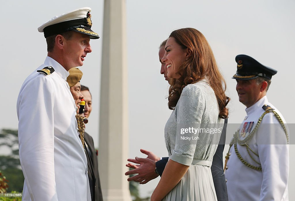 <a gi-track='captionPersonalityLinkClicked' href=/galleries/search?phrase=Prince+William&family=editorial&specificpeople=178205 ng-click='$event.stopPropagation()'>Prince William</a>, Duke of Cambridge and <a gi-track='captionPersonalityLinkClicked' href=/galleries/search?phrase=Catherine+-+Duchess+of+Cambridge&family=editorial&specificpeople=542588 ng-click='$event.stopPropagation()'>Catherine</a>, Duchess of Cambridge visit the Kranji War Memorial during their Diamond Jubilee tour on September 13, 2012 in Singapore.