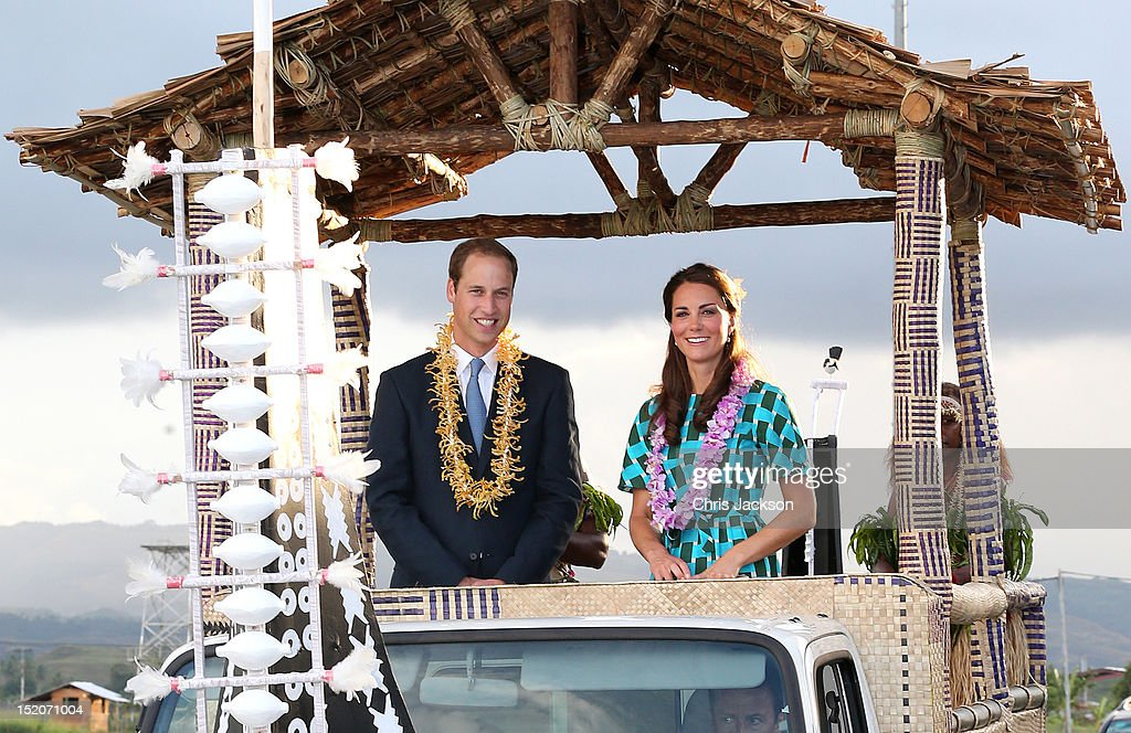 <a gi-track='captionPersonalityLinkClicked' href=/galleries/search?phrase=Prince+William&family=editorial&specificpeople=178205 ng-click='$event.stopPropagation()'>Prince William</a>, Duke of Cambridge and <a gi-track='captionPersonalityLinkClicked' href=/galleries/search?phrase=Catherine+-+Duchess+of+Cambridge&family=editorial&specificpeople=542588 ng-click='$event.stopPropagation()'>Catherine</a>, Duchess of Cambridge travel in a special boat vehicle as they arrive at Honiara International Airport during their Diamond Jubilee tour of the Far East on September 16, 2012 in Honiara, Guadalcanal Island. <a gi-track='captionPersonalityLinkClicked' href=/galleries/search?phrase=Prince+William&family=editorial&specificpeople=178205 ng-click='$event.stopPropagation()'>Prince William</a>, Duke of Cambridge and <a gi-track='captionPersonalityLinkClicked' href=/galleries/search?phrase=Catherine+-+Duchess+of+Cambridge&family=editorial&specificpeople=542588 ng-click='$event.stopPropagation()'>Catherine</a>, Duchess of Cambridge are on a Diamond Jubilee tour representing the Queen taking in Singapore, Malaysia, the Solomon Islands and Tuvalu.
