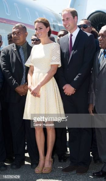 Prince William Duke of Cambridge and Catherine Duchess of Cambridge leave Honiara International airport to head to Tuvalu during the Royal couple's...
