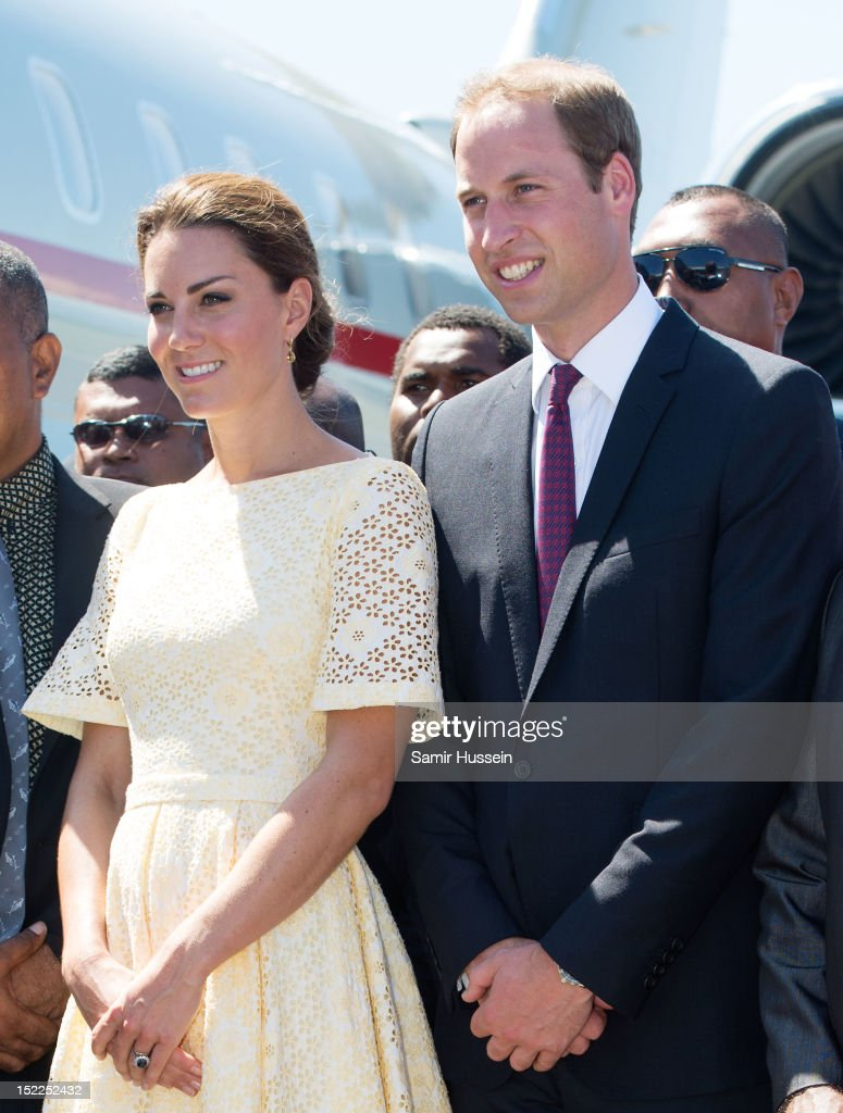 Prince William, Duke of Cambridge and Catherine, Duchess of Cambridge leave Honiara International airport to head to Tuvalu during the Royal couple's Diamond Jubilee Tour of the Far East on September 18, 2012 in Honiara, Guadalcanal Island.