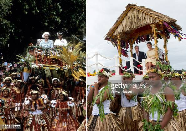 In this composite image a comparison has been made between Queen Elizabeth II and Prince Philip Duke of Edinburgh Official Tour Of The South Pacific...