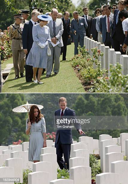 In this composite image a comparison has been made between Queen Elizabeth II's visit to Singapore in October 1989 and Duke and Duchess of Cambridge...